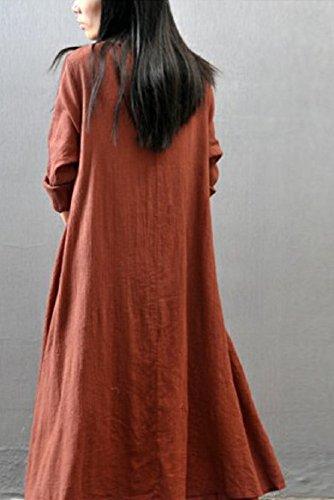 レディース ワンピース スカート ロング マキシ 丈 シンプル 長袖 カジュアル ゆったり 春服 秋服 XL, カーキ