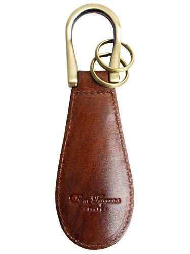 [Dom Teporna] 靴べら 本革 携帯用 ミニ シューホーン キーホルダー グラデーション イタリアンレザー キーリング付き