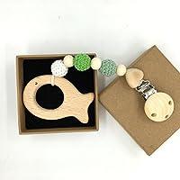 Kissteether 赤ちゃんの木製のおしゃぶりのクリップのペンダント自然の木製の歯ブラシのチュアブルの安全なホルダー幼児のギフト (木製の色 5)
