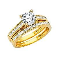 Jewels By Lux レディース 14KイエローゴールドキュービックジルコニアCZの結婚指輪と婚約ブライダルザ・リング2点セットサイズ イエローゴールド 7