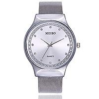 アナログクォーツ時計ファッションステンレスメッシュ防水腕時計カジュアルファッションクリスタルラインストーン象眼細工ウォッチ (Color : Silver)