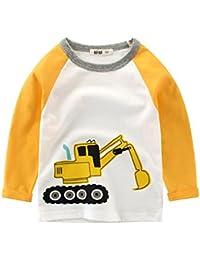 e4461d82dd6fc  Coralup 子供服 ガールズ ボーイズ 長袖 Tシャツ 90-140cm 男の子 女の子 キッズ カットソートップ キッズ 綿100% ボーダー 長袖  Tシャツ ロンT…
