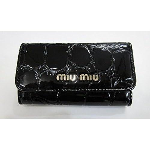 (ミュウミュウ)MIU MIU 6連キーケース クロコ柄 ブラック m188 [並行輸入品]
