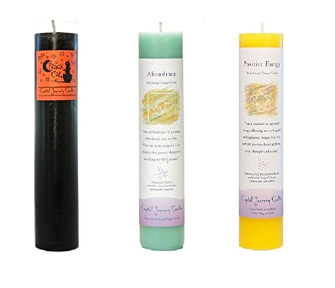 大陸要求読みやすい(Black Cat, Abundance, Positive Energy) - Crystal Journey Reiki Charged Herbal Magic Pillar Candle Bundle (Black...