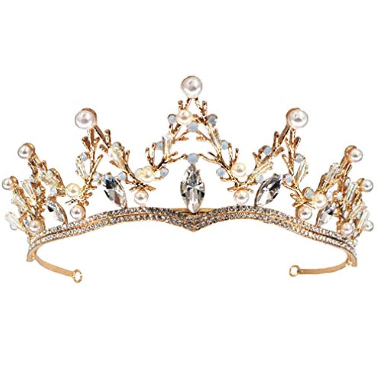 アンドリューハリディ呼ぶ連結するクリスタルクラウン、ヨーロッパとアメリカの豪華なラインストーンバロックゴールド高品質合金王女の誕生日パーティーヘッドバンド