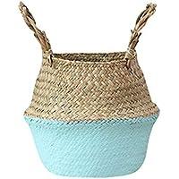 Racazing純粋な手織 収納ボックス 自然環境保護 織花バスケット 折り畳み式 ウィッカー/ストロー製 巾着 直径:27cm (青)