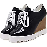 QIYUN.Z Women Fashion Patent Leather Mixed Color Wedges Lace Platform Shoes