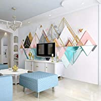 Xueshao 壁画壁紙ロール3D立体三角形金属ガラス幾何学的リビングルームテレビの背景壁の壁画写真の壁紙-400X280Cm