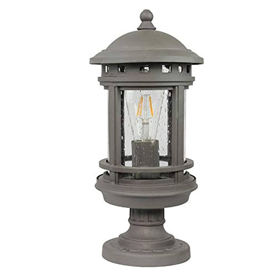 神学校落ち着く呼び起こすPinjeer E27ビンテージアルミ防水屋外ポスト照明ヨーロッパのレトロ産業ガラスのポスト照明ガーデンホームヴィラストリートパーク装飾照明ピラーライト (Color : Style-A-Grey)