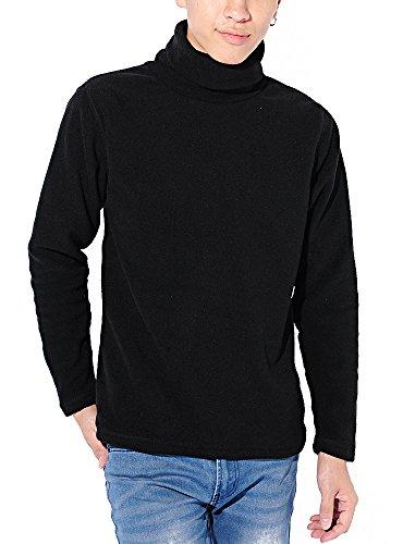 ブラック M (ベストマート)BestMart あったかインナー 防寒 フリース ストレッチ タートルネック ハイネック 美シルエット ストレッチ Tシャツ 621647-005-001