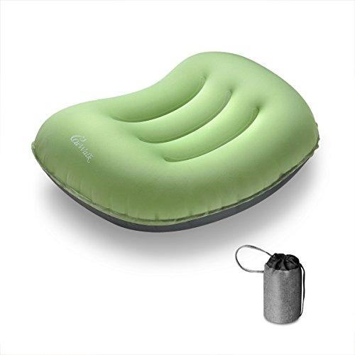 インフレータブルピロー catwalk トラベルピロー エアーピロー 携帯枕 旅行用 キャンプ用品 腰枕空気枕 持ち運びに便利な空気枕 (グリーン)