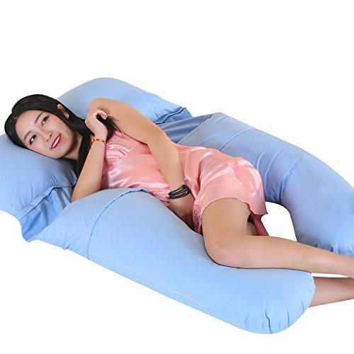 Ovonni 妊婦抱き枕 U型妊婦まくら 産後授乳クッション ビッグサイズ 背もたれ 肩こり 横寝 安眠枕 曲線状 腰痛、筋肉痛対策 (ブルー)