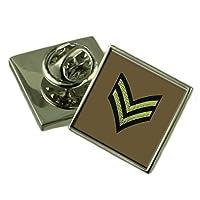 陸軍記章ランク伍長スターリングシルバーラペルピンギフトボックス