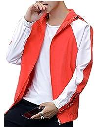 maweisong メンズクラシックフィットカラーブロックジップアップ軽量フーディースポーツアウトジャケット