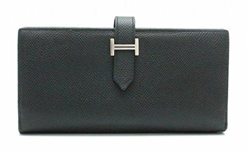[エルメス] HERMES ベアン スフレ 2つ折 長財布 ヴォーエプソン レザー 黒 ブラック シルバー金具 T刻印