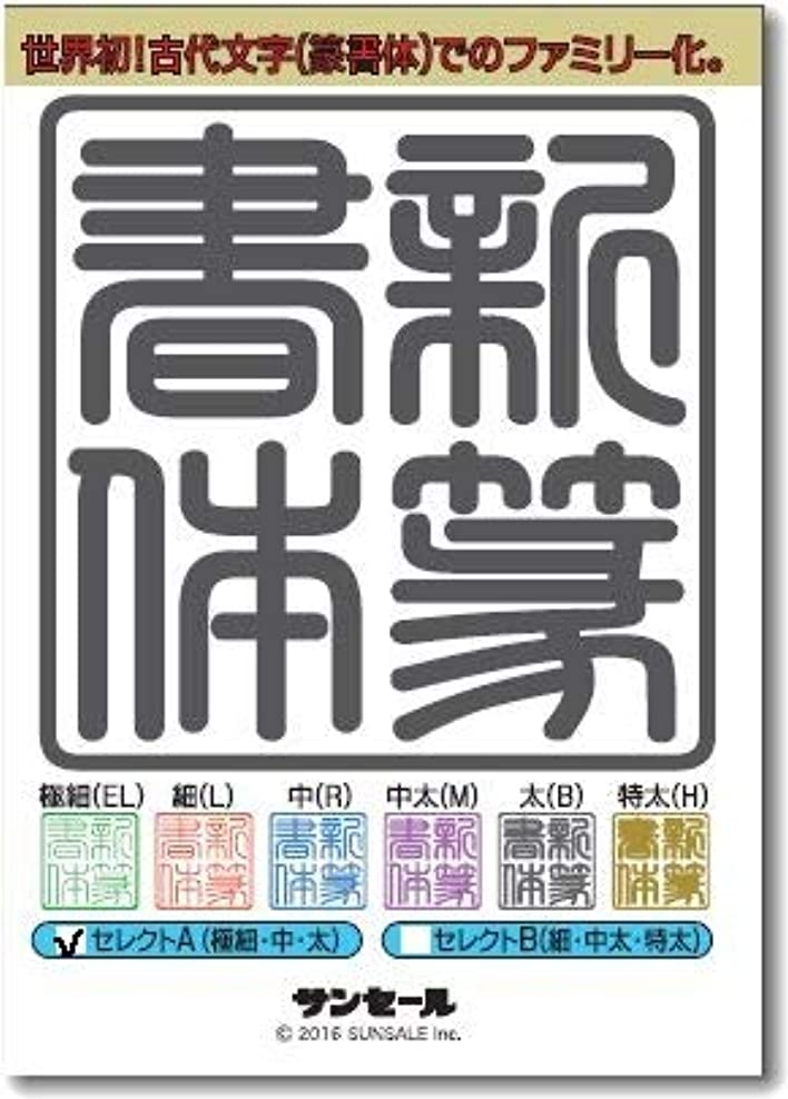 新篆書体セレクトA(3書体) 極細(EL)?中(R)?太(B)/TrueType Hybrid | PC/Mac
