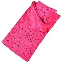 SONONIA ドール 寝袋 枕付き セット 18インチ アメリカン女の子人形用 装飾 5色選べる - ローズレッド