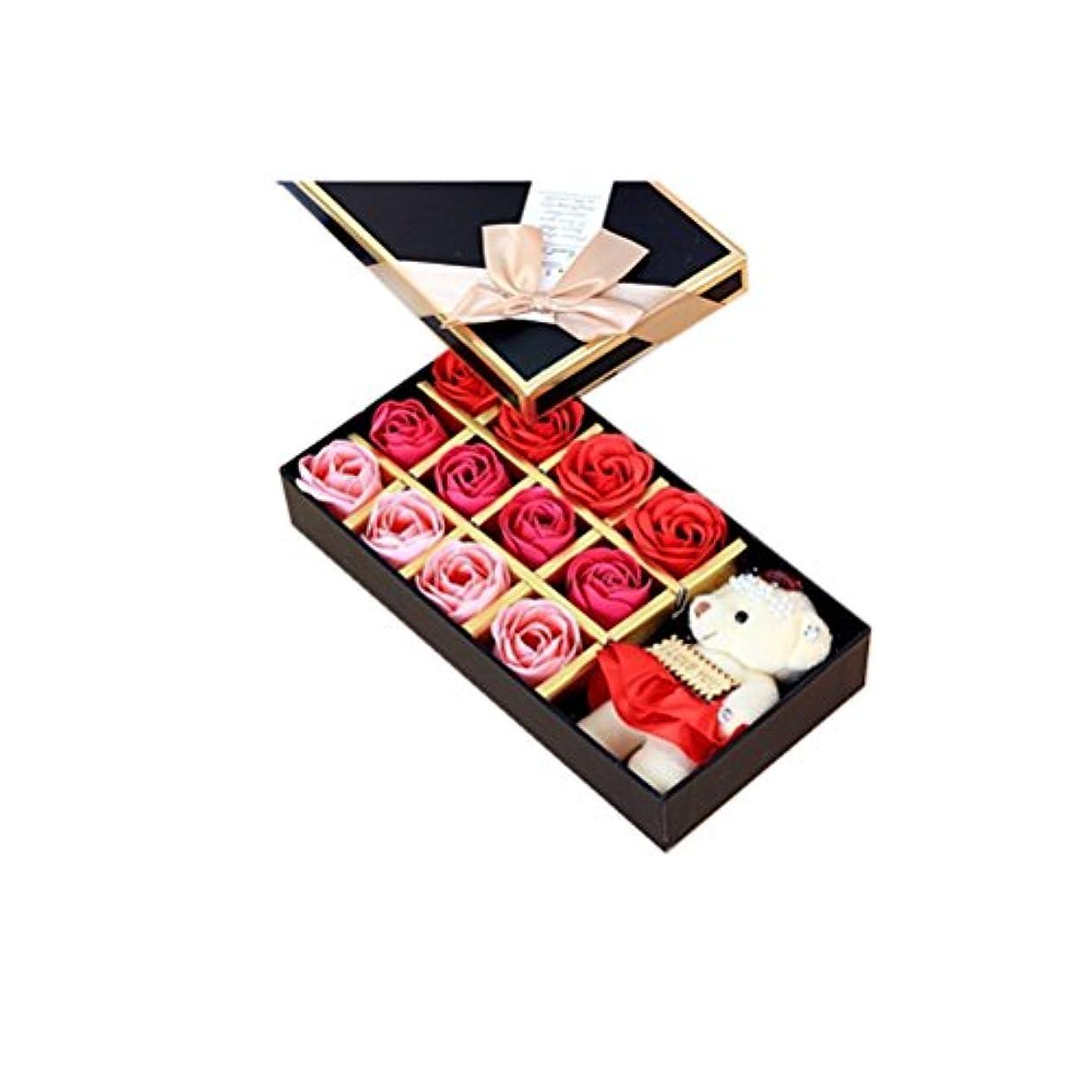 穴行為最高ROSENICE 香り バラの花 お風呂 石鹸 ギフトボックス (赤)