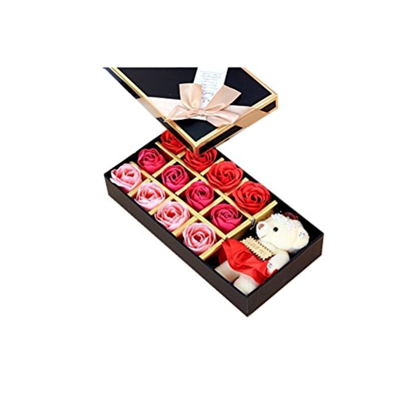 とらえどころのない疲れたROSENICE 香り バラの花 お風呂 石鹸 ギフトボックス (赤)