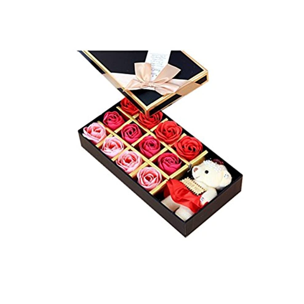 ポジティブうなずく爆発するROSENICE 香り バラの花 お風呂 石鹸 ギフトボックス (赤)