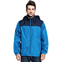 Men's Zip Front Contrast Packable Hideaway Hooded Rain Jacket