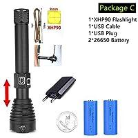 最も強力なXhp90懐中電灯26650 UsbトーチXhp70 Xhp50ランタン18650充電式バッテリーハンティングランプハンドライト、パッケージC