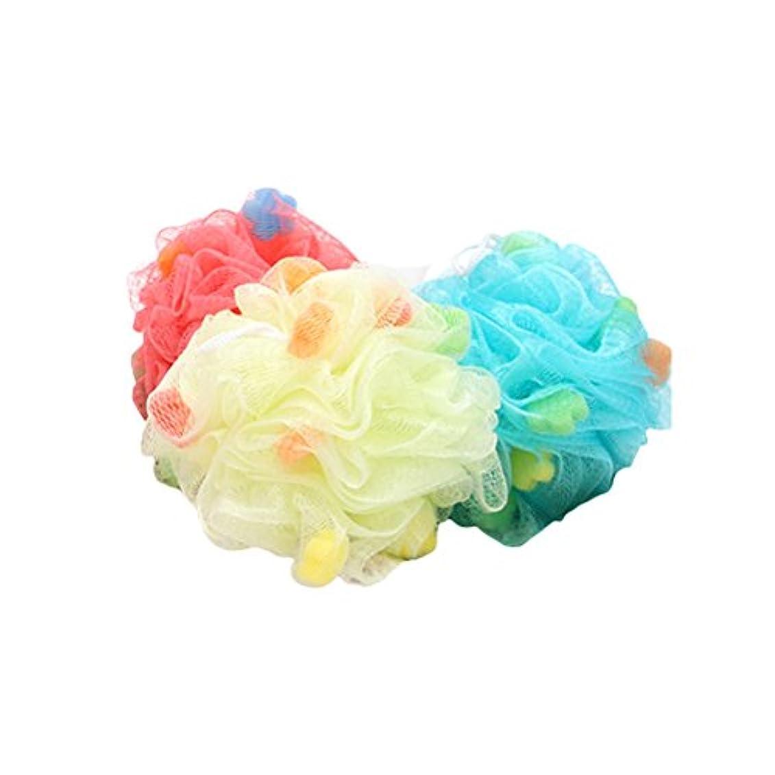 生食品シミュレートするHealifty ボディースポンジ 泡立てネット フラワーボール シャワー用 バス用品 背中も洗える メッシュ ボディ洗い 泡肌美人(ランダム色)3個