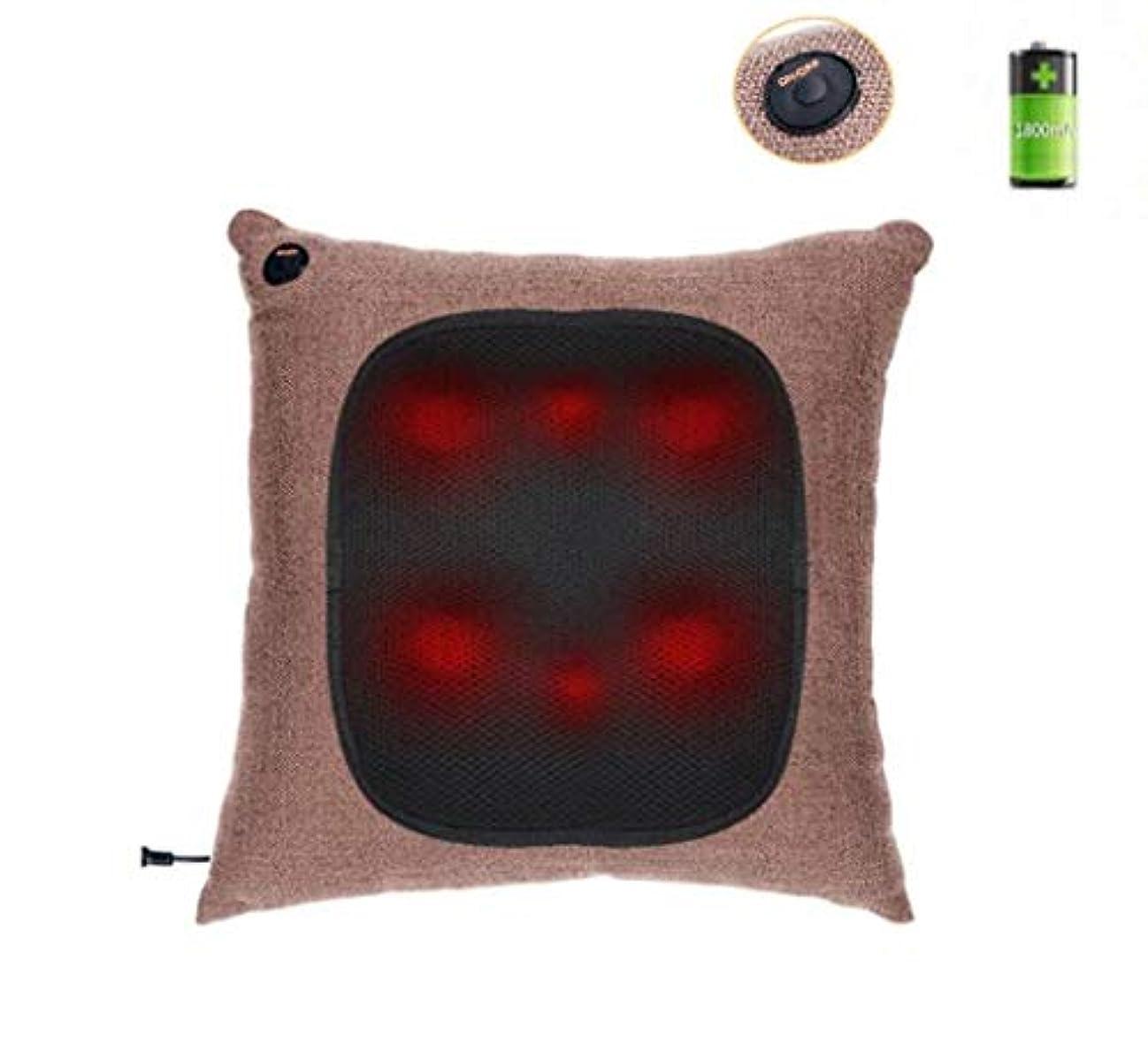の慈悲でマウスアセ多機能マッサージ枕、オフィス、自宅、車、首、肩、腰、背中、ボディマッサージクッション、携帯用枕、充電式、ワイヤレス