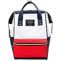 Redland Art Backpack Women Fashion Women Backapck Solid Color School Backpack Teenage Girl Children Backbag Mochilas Female Bagpack (Color : Beige red Backpack)