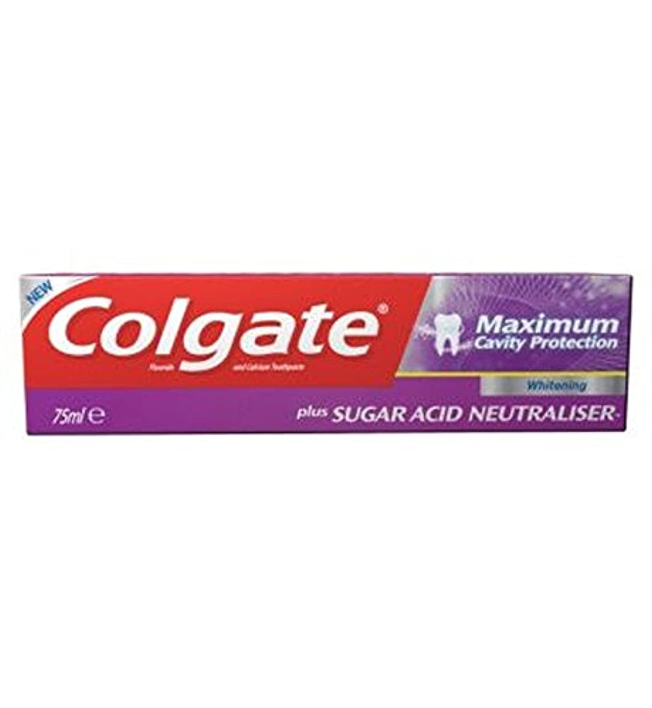 つまらないパースコントロール歯磨き粉75ミリリットルをホワイトニングコルゲート最大空洞の保護に加えて、糖酸中和剤 (Colgate) (x2) - Colgate Maximum Cavity Protection plus Sugar Acid...