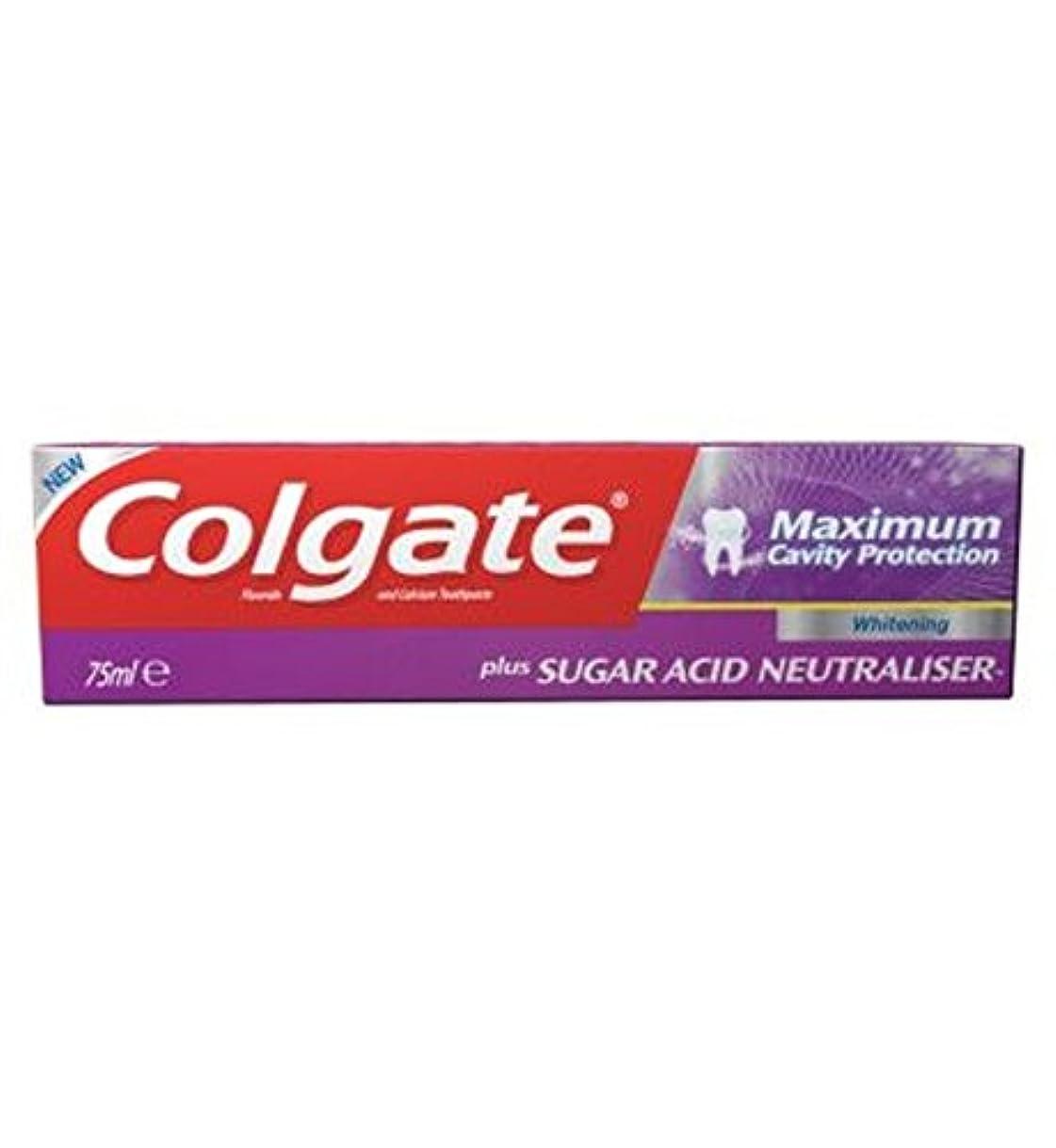 政治みすぼらしい転倒歯磨き粉75ミリリットルをホワイトニングコルゲート最大空洞の保護に加えて、糖酸中和剤 (Colgate) (x2) - Colgate Maximum Cavity Protection plus Sugar Acid...