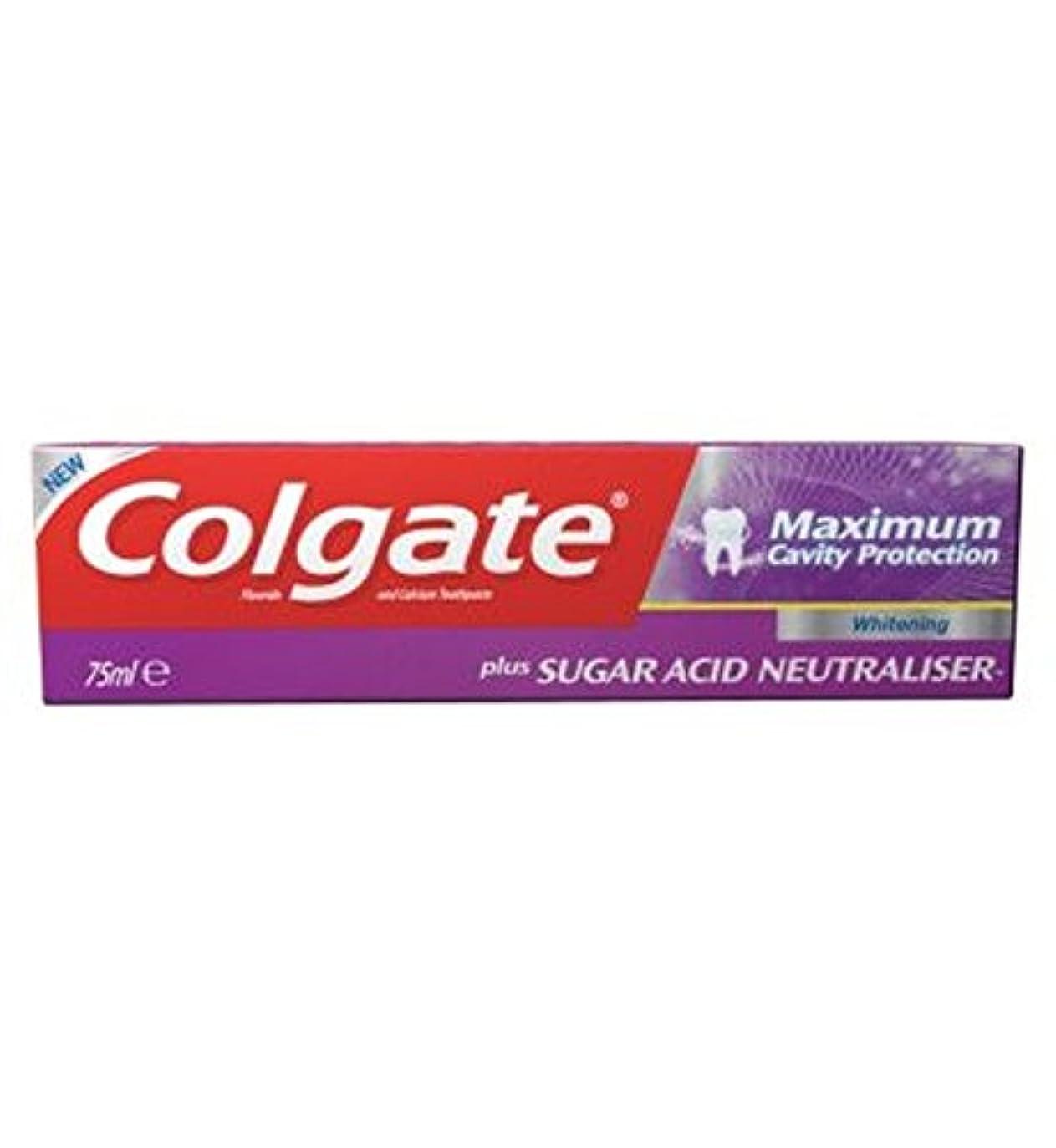 スキャンダラス国際素人歯磨き粉75ミリリットルをホワイトニングコルゲート最大空洞の保護に加えて、糖酸中和剤 (Colgate) (x2) - Colgate Maximum Cavity Protection plus Sugar Acid...