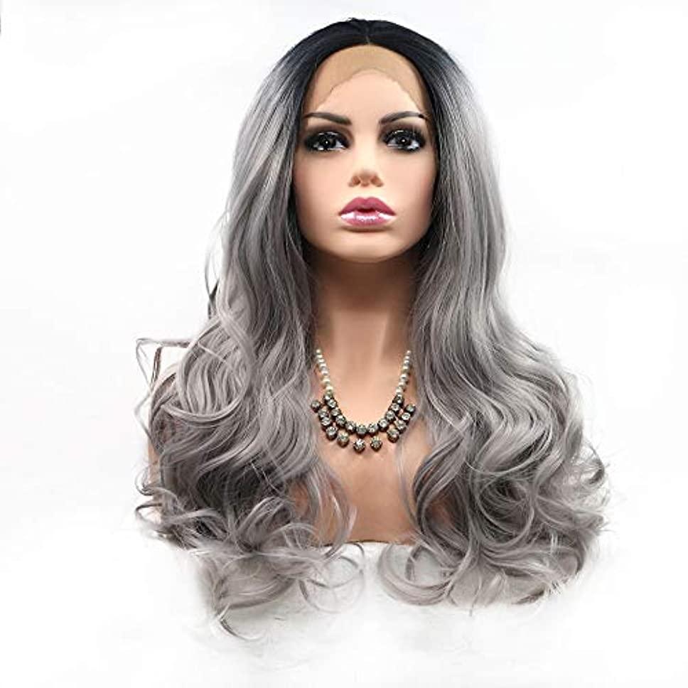 グレートオーク騒々しいスポーツヘアピース 女性のためのかつら染めの長い巻き毛のヨーロッパとアメリカのかつらヘアセット-グレー-レース-ミディアムロングヘア