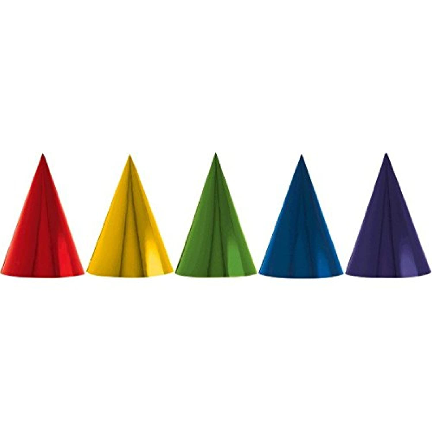 Fun Rainbow Birthday Party Foil Cone Hats , Pack Of 12, Multi , 7