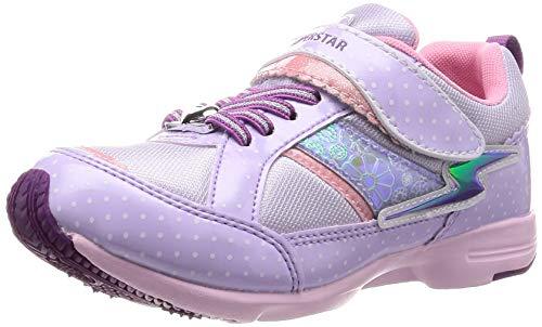 [スーパースター] 運動靴 通学履き 軽量 マジック 幅広 16~22cm 0.5cm有 キッズ SS K915 パープル 18.5 cm 2E