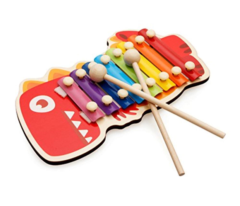 Greencherry 可愛い恐竜シロホン 鉄琴木琴楽器 木製叩くおもちゃ 幼児用 8音階 楽器玩具 知育玩具 おもちゃ プレゼント 誕生日 クリスマス 出産祝い