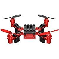 Springdoit DIY折りたたみ式4軸飛行機無人機ミニリモートコントロールブロック組立無人機クリスマスプレゼント - 赤