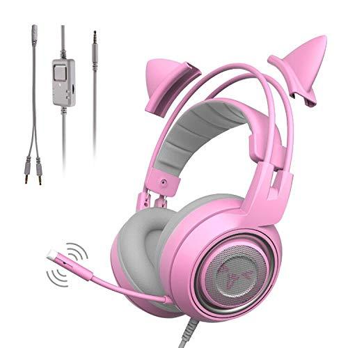 SOMIC G951S-PINK ヘッドフォン ゲームヘッドホン 可愛い 高音質 猫耳ヘッドホン 3.5mm端子 マイク付き 有線 スマホ 携帯 PC Switch Xbox One ps4に対応 軽量 ピンク