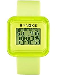 子供腕時計 キッズウオッチ 防水アップ キッズ腕時計 デジタル表示 アラーム ストップウオッチ 日付 曜日付き 男女兼用 5-15歳 ギフト グリーン
