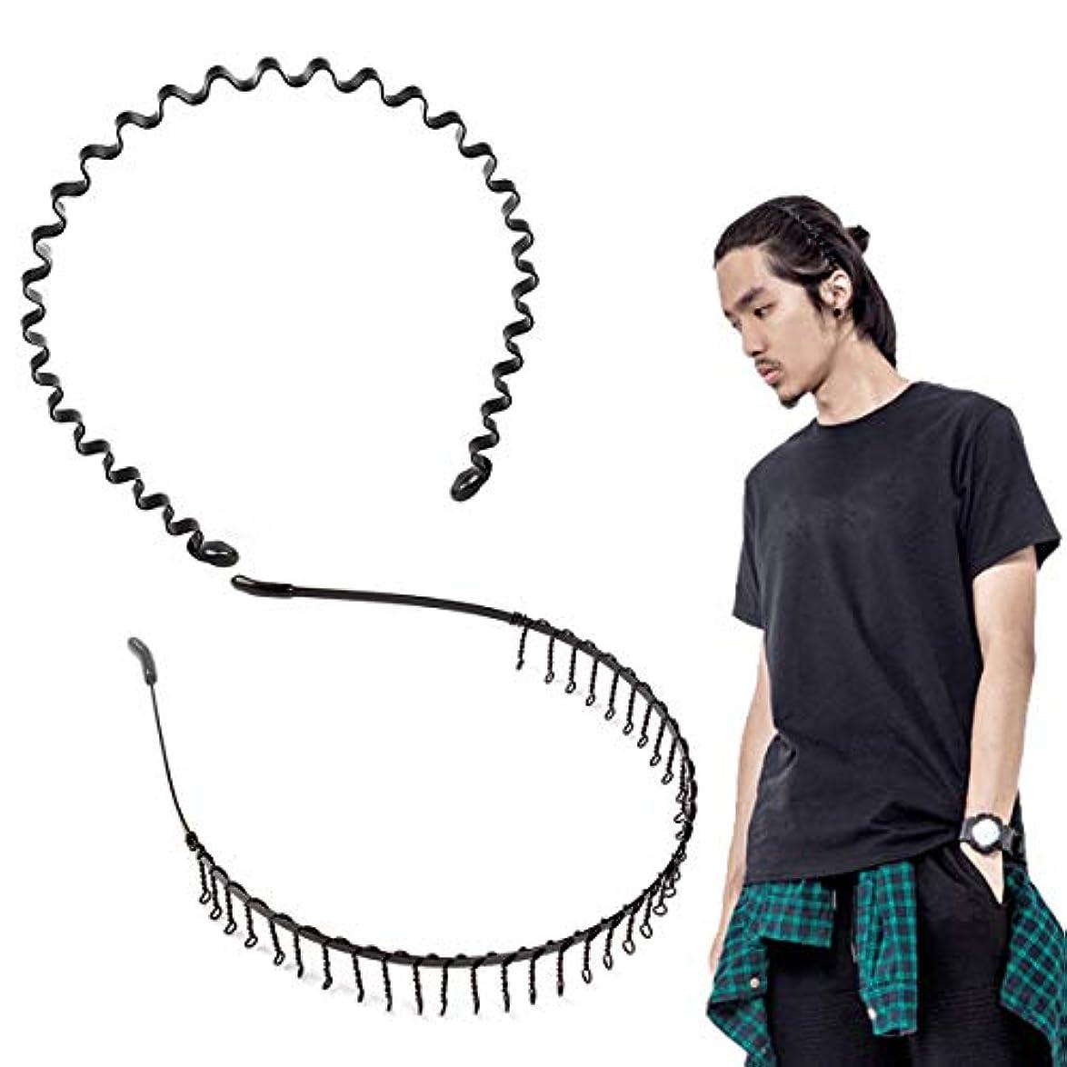 ピカリング鋭く資源shefun メンズ カチューシャ スプリング ヘアバンド 鉄 波型 くし付き 滑り止め 痛くない 黒 シンプル 前髪 髪飾り 2本セット JP159