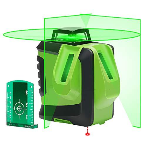 Huepar グリーン レーザー墨出し器 緑色 レーザー クロスラインレーザー 自動補正機能 高輝度 高精度 ライン出射角360°4方向大矩照射モデル 地墨 鉛直ポイント 6ライン+地墨タイプ 622CG