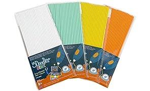 3Doodler Start Refill Plastic 4 Pack Bundle, Summer Splash (Includes Glow in the Dark), Compatible with Start 3D Pen for kids