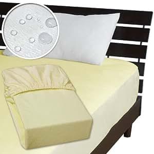 メーカー直販 ベッド用ボックスシーツ 防水シーツ 【介護シーツ・ベッド用防水シーツ】シングル 100×200×30cm クリーム/イエロー系