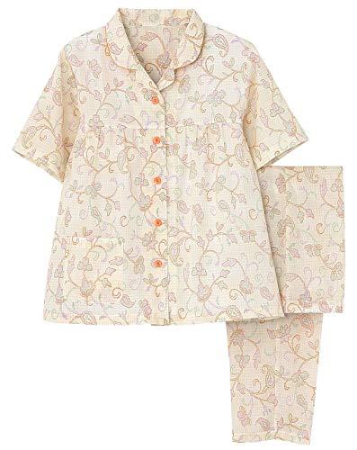 [グンゼ] レディースパジャマ 綿100% 半袖長パンツ ナチュラル楊柳 オレンジ 日本 M (日本サイズM相当)