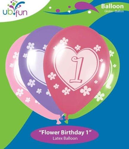 UB FUN A16002-11 FLOWER BIRTHDAY 1 LATEX BALLOON 100PCS