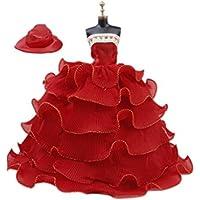 ドール用 人形用 ウェディングドレス ドレス ハット レッド アクセサリー