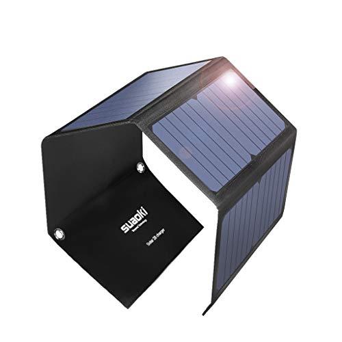 suaoki ソーラーチャージャー 28W ソーラーパネル 折りたたみ式 3ポート同時充電 USB QC3.0 出力自動判別機...