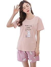 (インソー) YINSHUO 女性 パジャマ 半袖 可愛い クマ ルームウェア 夏 柔らかい 綿 2点セット おしゃれ 寝巻き