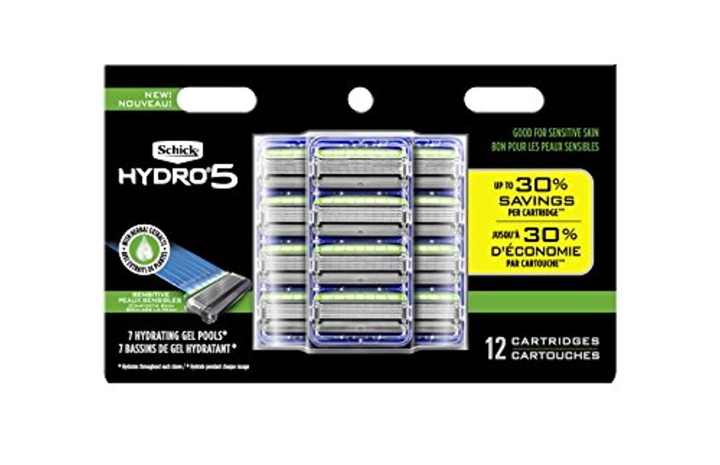軽減発揮する火山学Schick Hydro Sense Sensitive Mens Razor Blade Refill With Skin Guards, Includes 12 Razor Blades Refills 141[並行輸入]