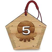 オクトパス君 5を書く定規( 合格 ・ 五角 定規 )文房具 木製 ストラップ キーホルダー 小さい グッズ